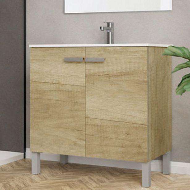 Oferta de Mueble de baño con lavabo y espejo Duo roble claro 80x45 cm por 200€