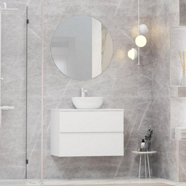 Oferta de Mueble de baño con lavabo y espejo Bari blanco 80x46 cm por 299,9€