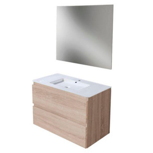 Oferta de Mueble de baño con lavabo y espejo Prima roble claro 80x45 cm por 175€