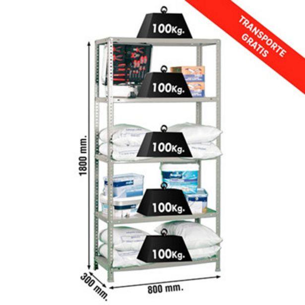 Oferta de Estantería metálica en kit de 30x80 cm y carga max 100 kg por balda por 59€