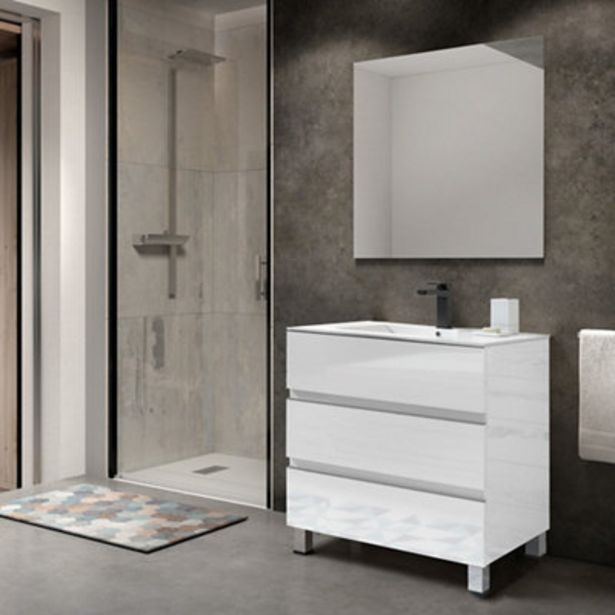 Oferta de Mueble de baño con lavabo Comoro blanco 80x45 cm por 183,75€