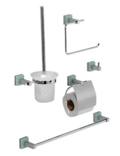 Oferta de Set baño BARBARA gris / plata cromado brillante por 44,9€