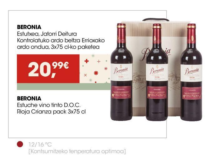 Oferta de BERONIA Estuche vino tinto D.O.C. Rioja Crianza  por 20,99€