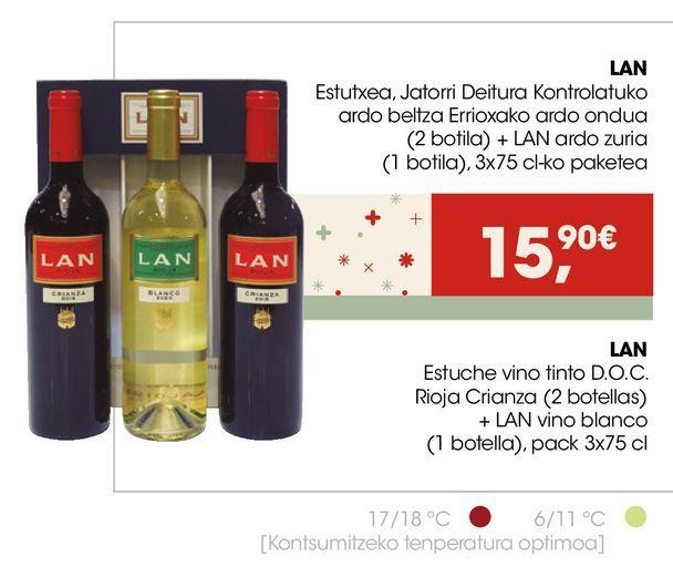 Oferta de LAN Estuche vino tinto D.O.C. Rioja Crianza + LAN vino blanco  por 15,9€