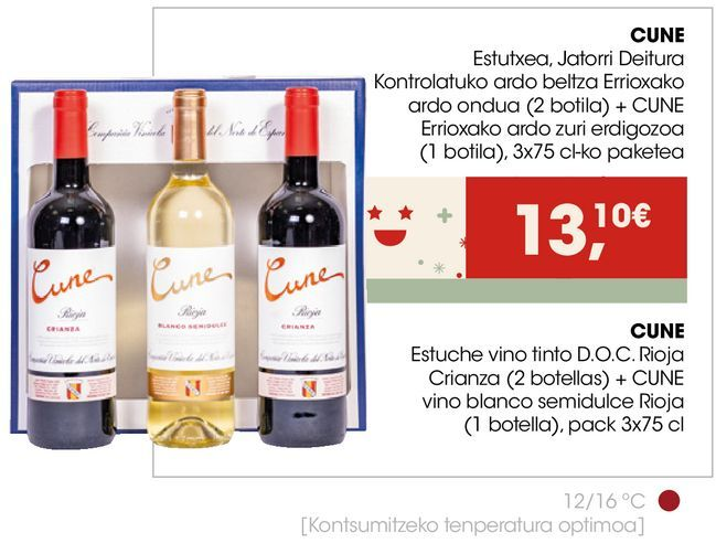 Oferta de CUNE Estuche vino tinto D.O.C. Rioja Crianza + CUNE vino blanco semidulce Rioja  por 13,1€