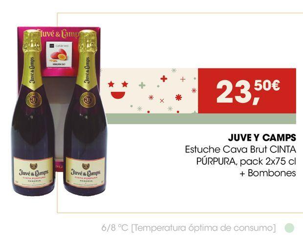 Oferta de JUVE Y CAMPS Estuche Cava Brut CINTA PÚRPURA + Bombones por 23,5€