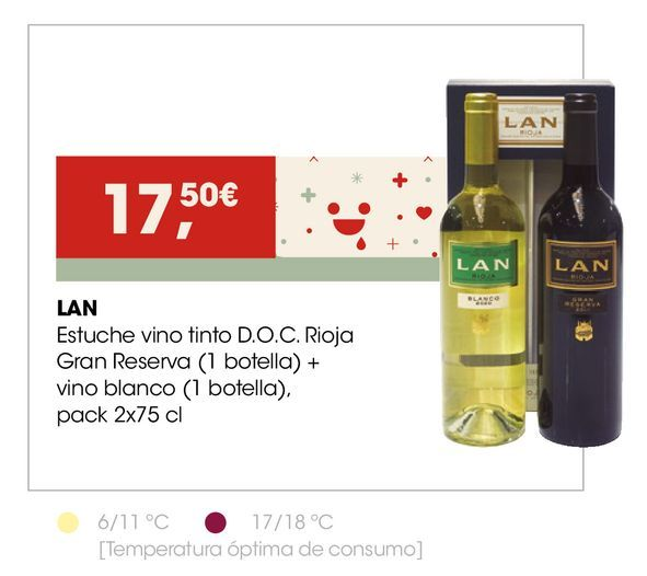 Oferta de LAN Estuche vino tinto D.O.C. Rioja Gran Reserva + vino blanco  por 17,5€