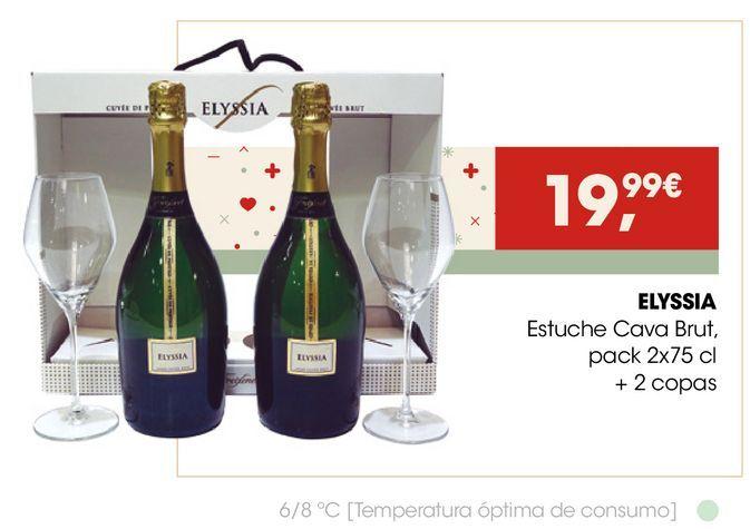 Oferta de ELYSSIA Estuche Cava Brut + 2 copas por 19,99€