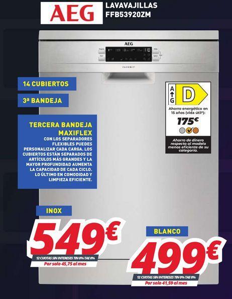 Oferta de Lavavajillas AEG por 549€