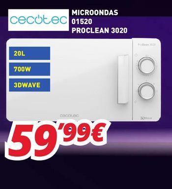 Oferta de Microondas cecotec por 59,99€