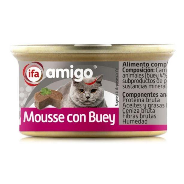 Oferta de Comida gatos mousse con buey, 85g por 0,4€