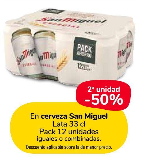 Oferta de En cerveza San Miguel Lata 33 cl Pack 12 unidades por
