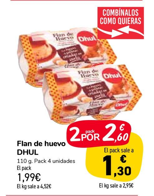 Oferta de Flan de huevo DHUL por 1,99€