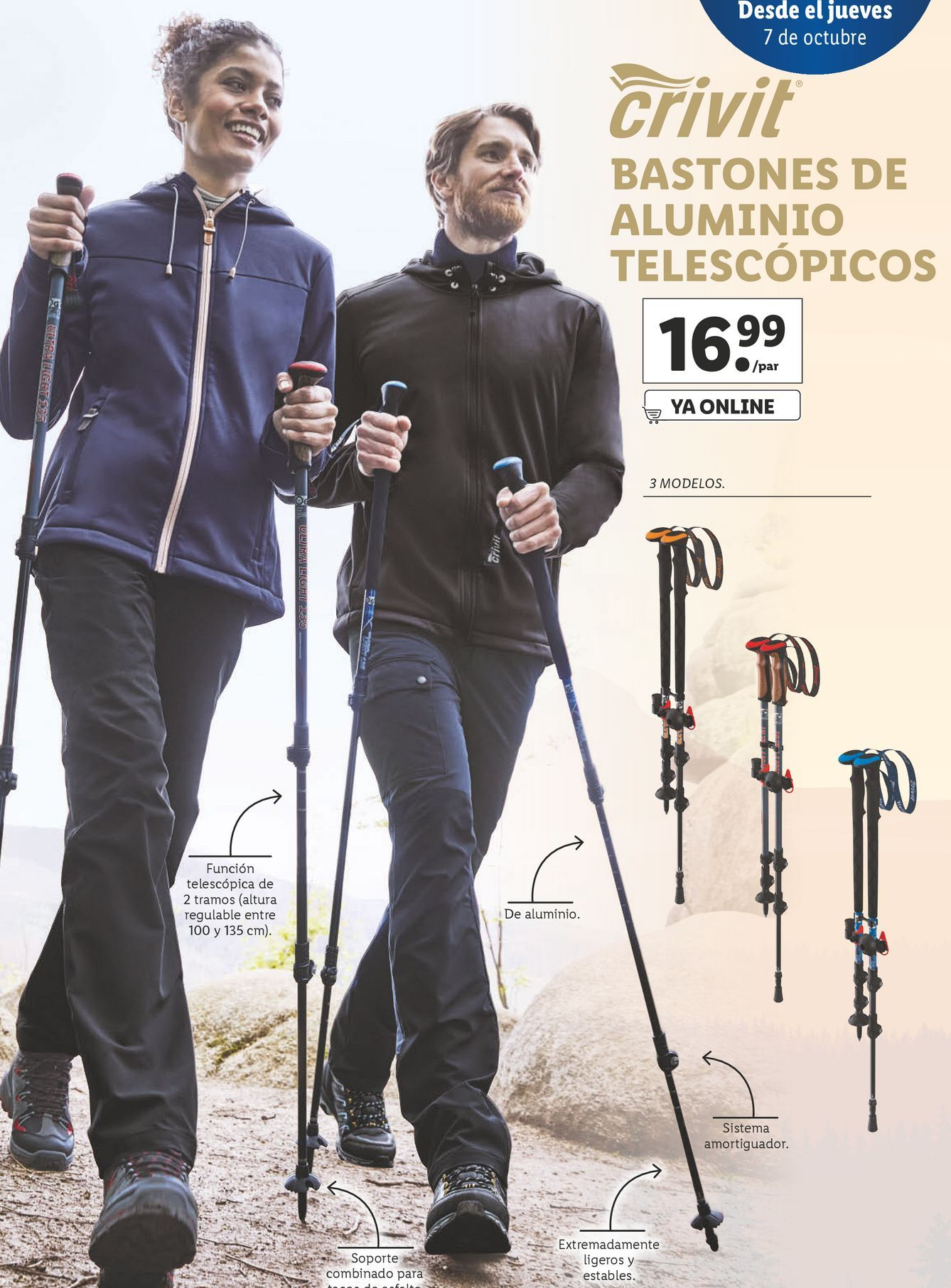 Oferta de Bastón de trekking Crivit por 16,99€