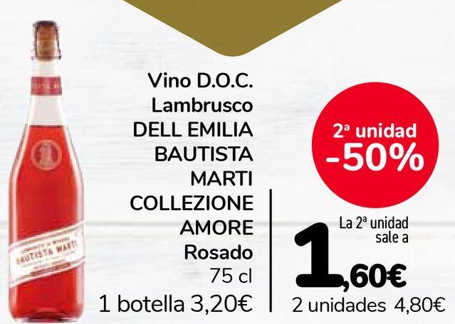 Oferta de Vino D.O.C. Lambrusco DELL EMILIA BAUTISTA MARTI COLLEZIONE AMORE Rosado por 3,2€