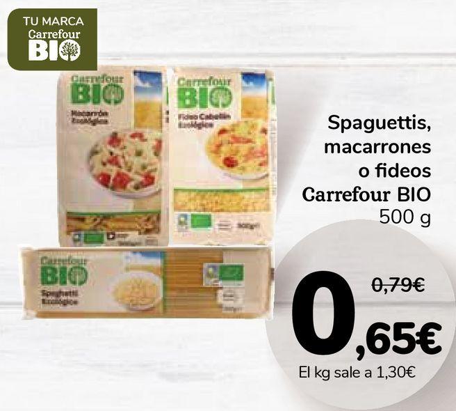 Oferta de Spaguettis, macarrones o fideos Carrefour BIO por 0,65€