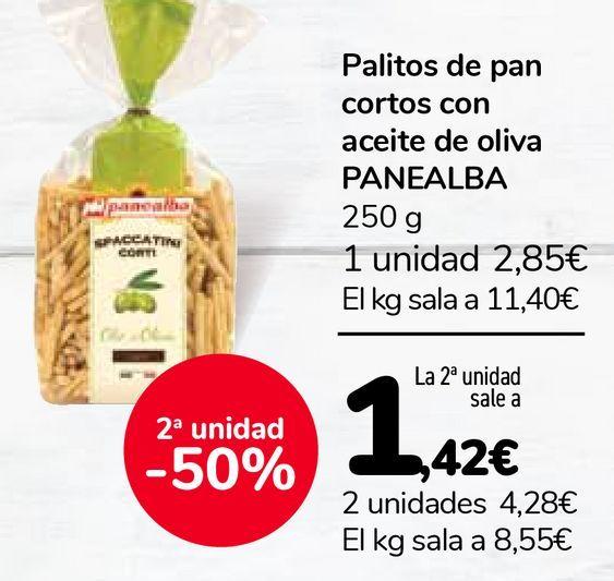 Oferta de Palitos de pan cortos con aceite de oliva PANEALBA por 2,85€