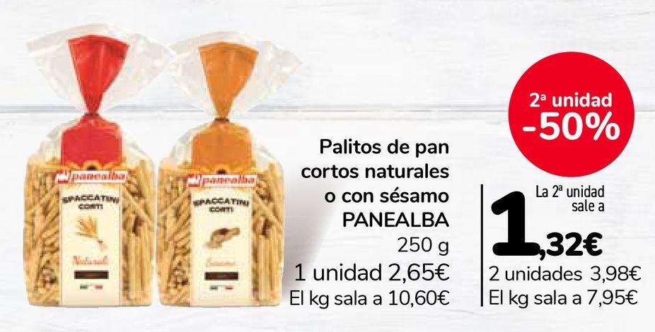 Oferta de Palitos de pan cortos naturales o con sésamo PANEALBA por 2,65€