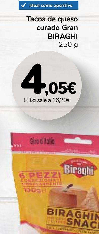 Oferta de Tacos de queso curado Gran BIRAGHI por 4,05€