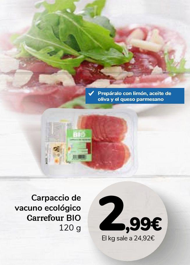 Oferta de Carpaccio de vacuno ecológico Carrefour BIO por 2,99€