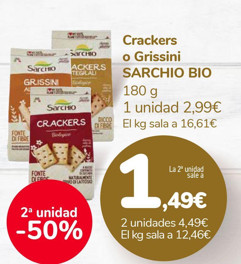 Oferta de Crackers o Grissini SARCHIO BIO por 2,99€