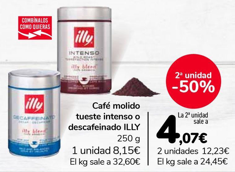 Oferta de Café molido tueste intenso o descafeinado ILLY por 8,15€