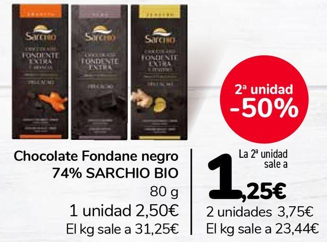 Oferta de Chocolate Fondane negro 74% SARCHIO BIO por 2,5€