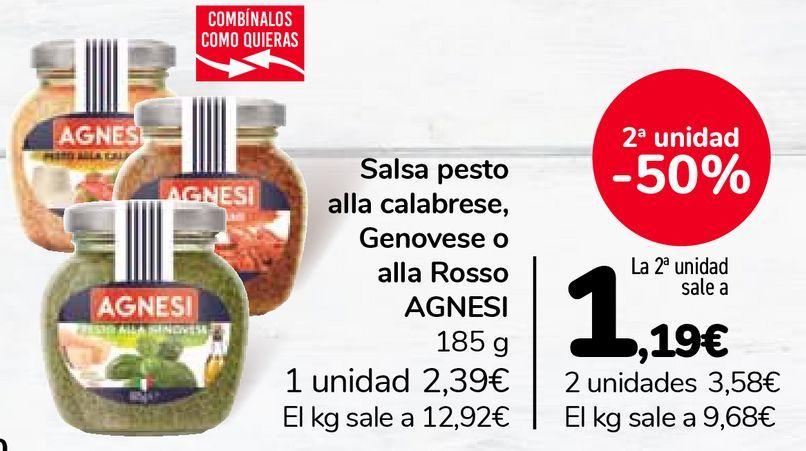 Oferta de Salsa pesto alla calabrese, Genovese o alla Rosso AGNESI  por 2,39€