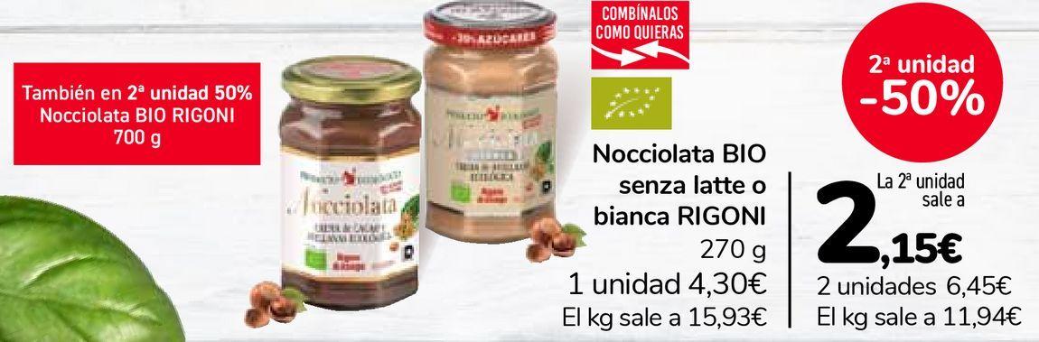 Oferta de Nocciolata BIO senza latte o bianca RIGONI por 4,3€