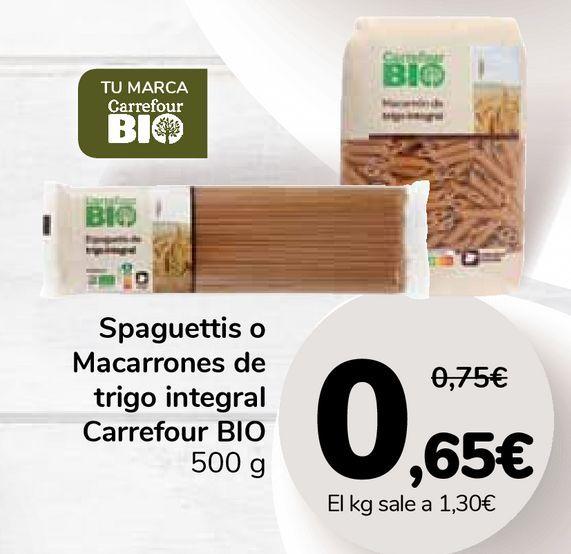 Oferta de Spaguettis o Macarrones de trigo integral Carrefour BIO por 0,65€