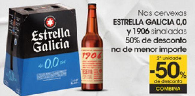 Oferta de En las cervezas ESTRELLA GALICIA 0,0 y 1906 señalizadas  por