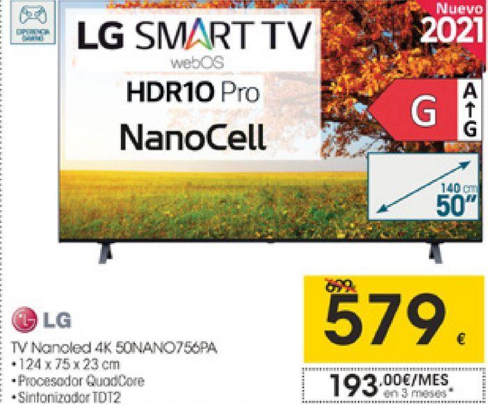Oferta de LG Tv Nanoled 4K 50NANO756PA  por 579€