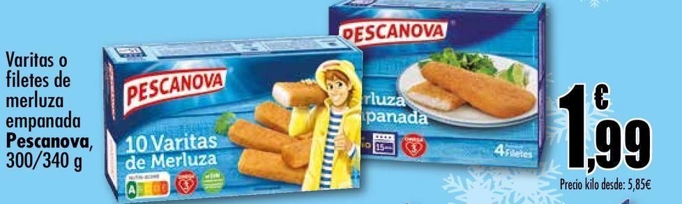 Oferta de Varitas de filetes de merluza empanada Pescanova, 300/340 g por 1,99€