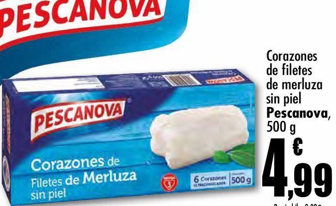 Oferta de Corazones de filetes de merluza sin piel  Pescanova, 500 g por 4,99€