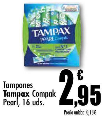 Oferta de Tampones Tampax Compak Pearl, 16 uds por 2,95€