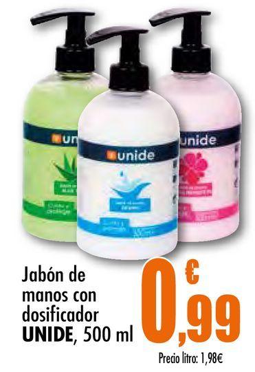 Oferta de Jabón de manos con dosificador Unide, 500 ml por 0,99€