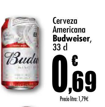Oferta de Cerveza americana Budweiser 33 cl por 0,69€