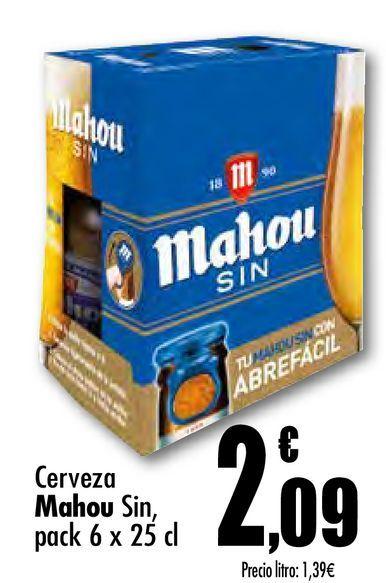 Oferta de Cerveza Mahou Sin, pack 6 x 25 cl por 2,09€