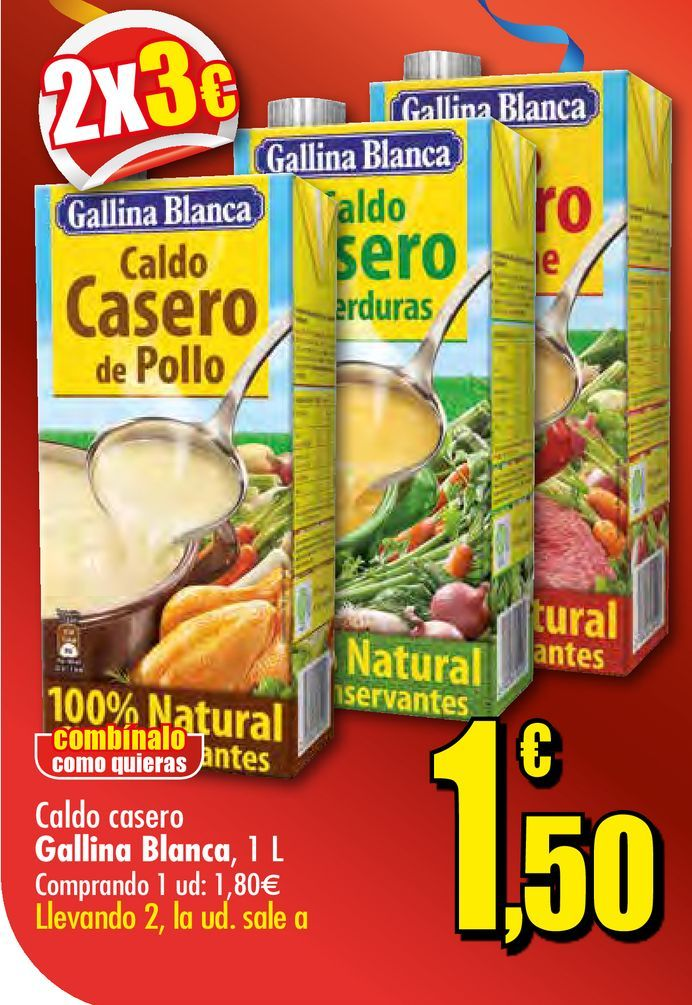 Oferta de Caldo casero Gallina Blanca 1L por 1,8€