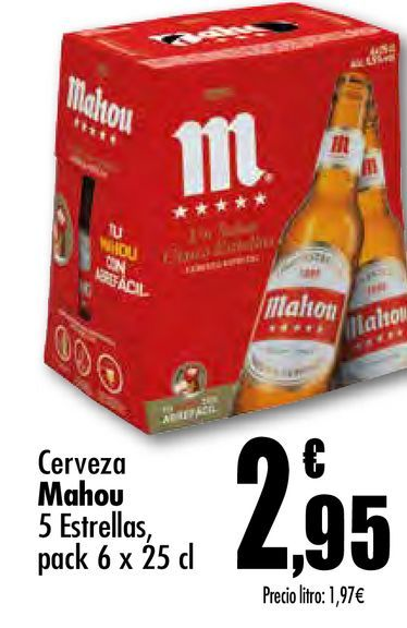 Oferta de Cerveza Mahou 5 estrellas pack 6 x 25 cl por 2,95€
