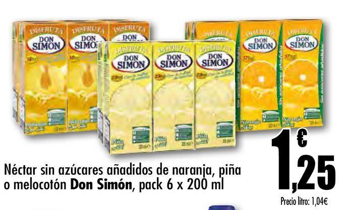 Oferta de Néctar sin azúcar  aádido de naranja, piña o melocotón Don Simón, pack 6 x 200 ml por 1,25€