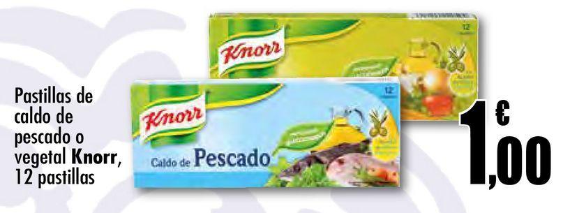 Oferta de Pastillas de caldo de pescado o vegetal  Knorr, 12 pastillas por 1€