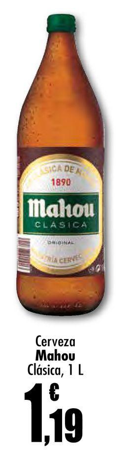 Oferta de Cerveza Mahou clásica, 1 L por 1,19€