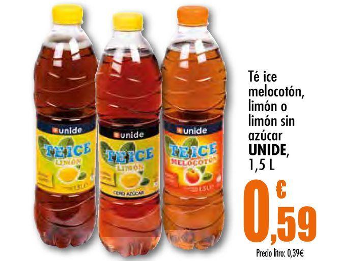 Oferta de Té ice melocotón, limón o limón sin azúcar Unide, 1.5 L por 0,59€