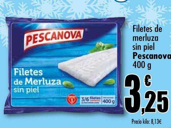 Oferta de Filetes de merluza sin piel Pescanova, 400 g por 3,25€