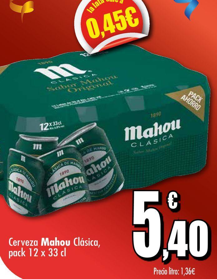 Oferta de Cerveza Mahou Clásica, pack 12 x 33 cl por 5,4€
