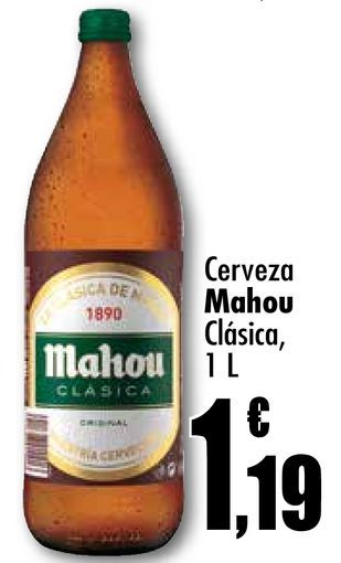Oferta de Cerveza Mahou Clásica, 1L por 1,19€