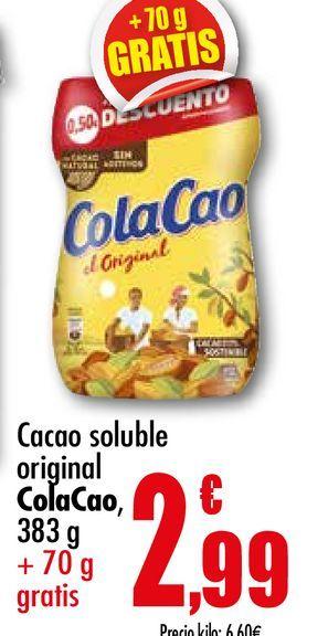 Oferta de Cacao soluble original Cola Cao, 383 g + 70 g gratis por 2,99€