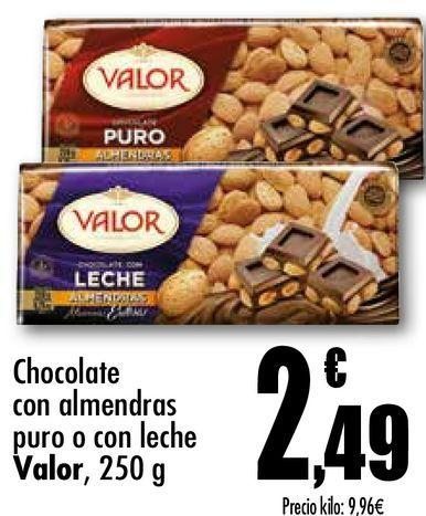 Oferta de Chocolate con almendras puro o con leche Valor, 250 g por 2,49€