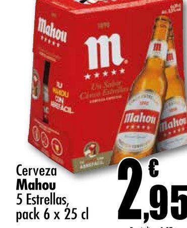 Oferta de Cerveza Mahou 5 estrellas, pack 6 x 25 cl por 2,95€